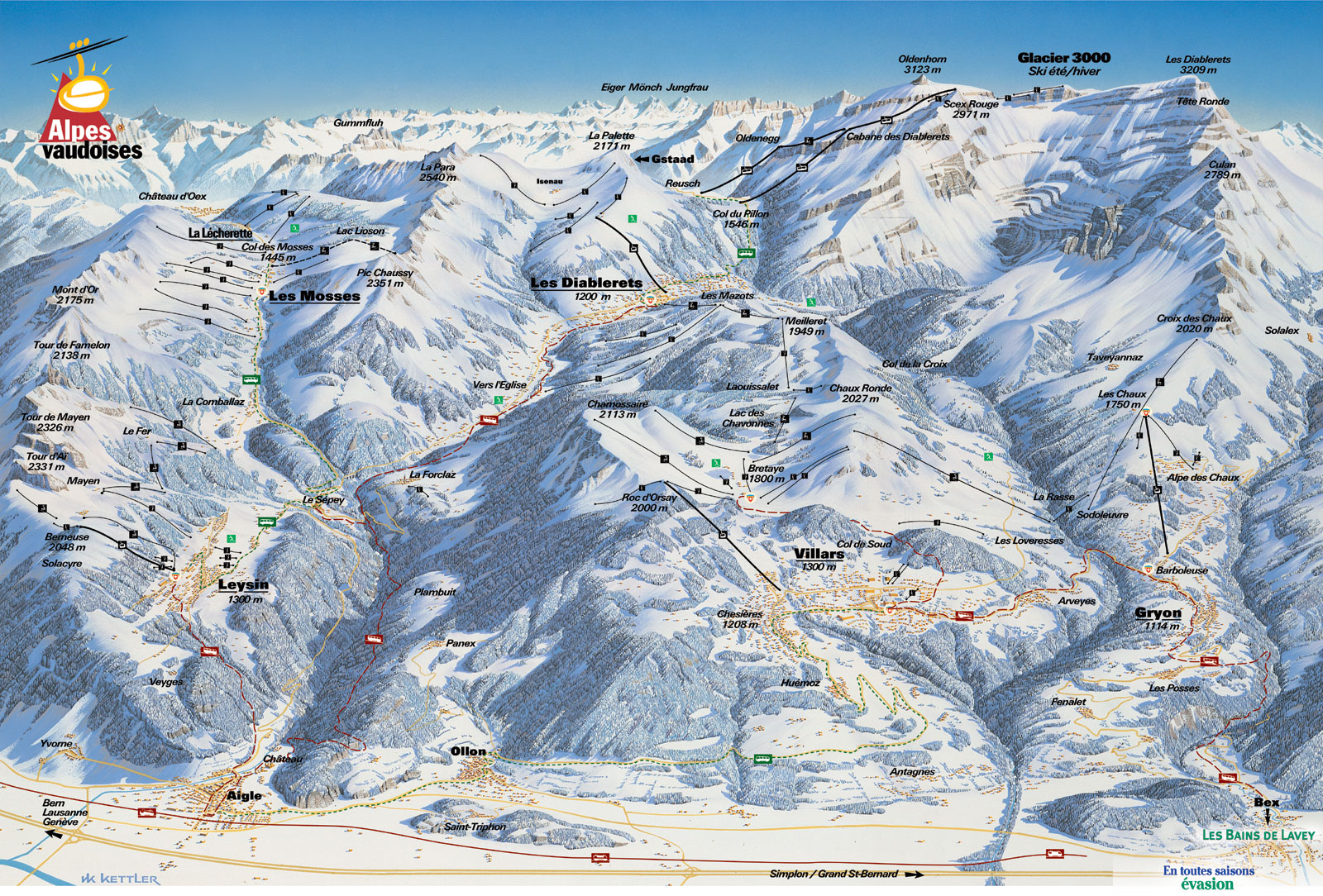 Villars - a ski area with more than 225 km of skiing between 1'300 and 3'000 meters